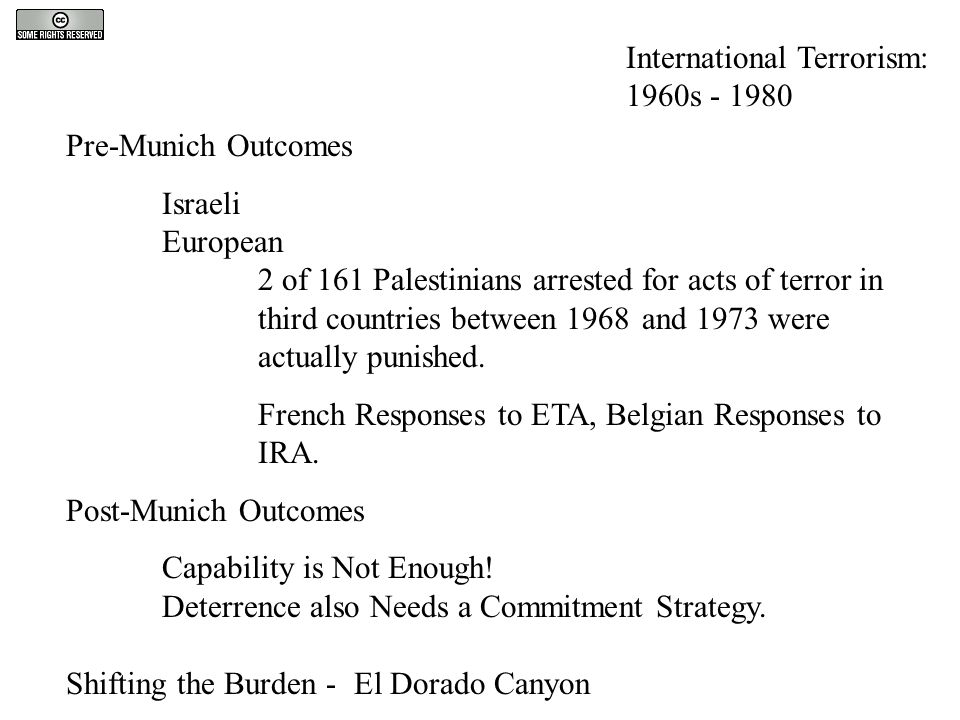 Pre-Munich Outcomes Israeli European 2 of 161 Palestinians arrested for acts of terror in third countries between 1968 and 1973 were actually punished
