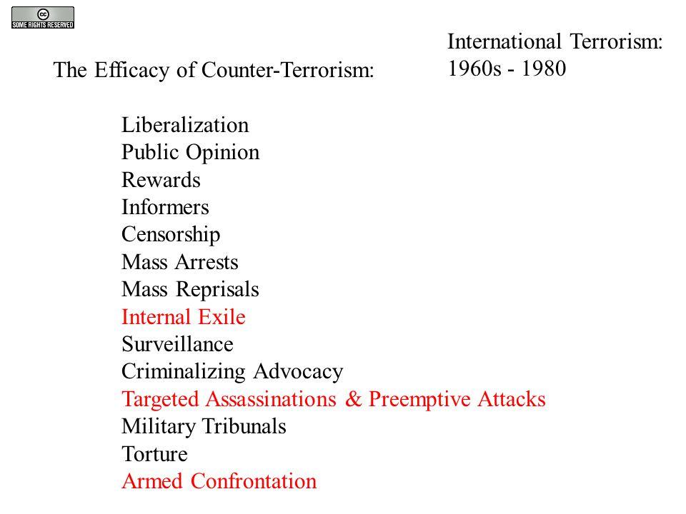 The Efficacy of Counter-Terrorism: Liberalization Public Opinion Rewards Informers Censorship Mass Arrests Mass Reprisals Internal Exile Surveillance