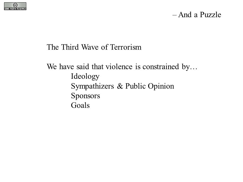 The Third Wave of Terrorism We have said that violence is constrained by… Ideology Sympathizers & Public Opinion Sponsors Goals – And a Puzzle