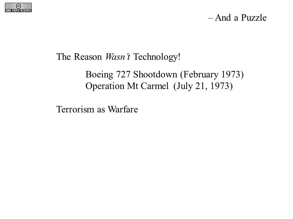 The Reason Wasn't Technology! Boeing 727 Shootdown (February 1973) Operation Mt Carmel(July 21, 1973) Terrorism as Warfare – And a Puzzle
