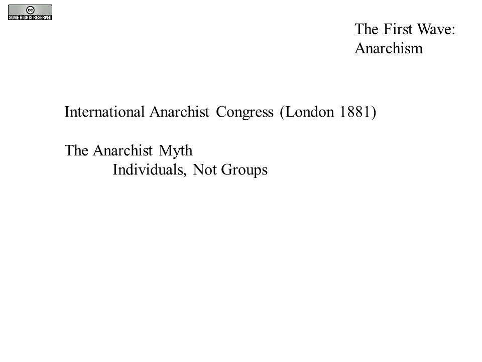 The First Wave: Anarchism International Anarchist Congress (London 1881) The Anarchist Myth Individuals, Not Groups