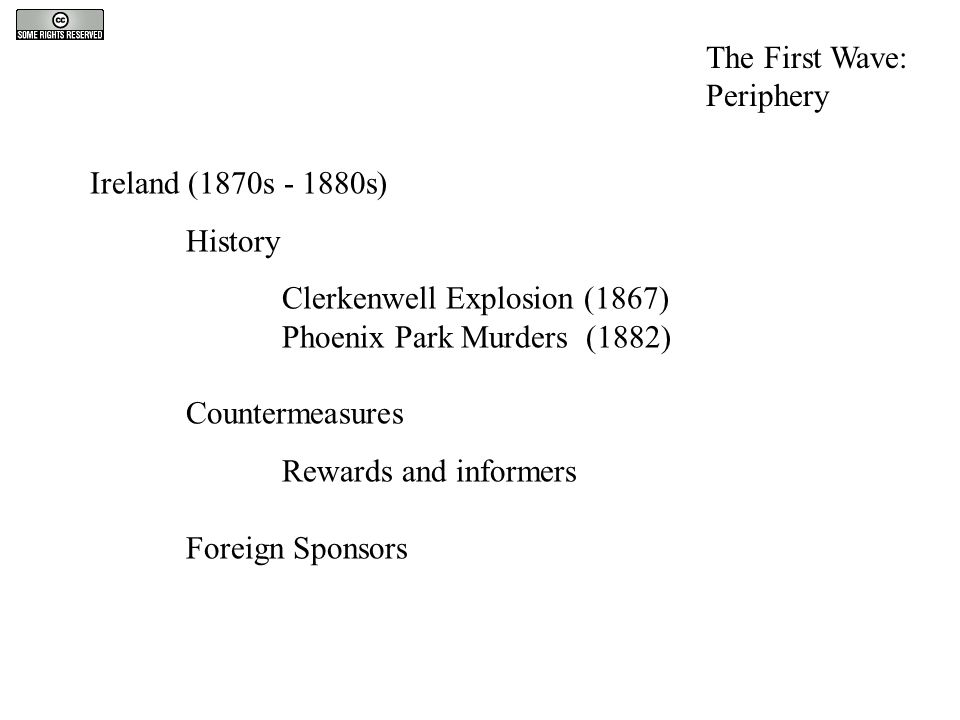 Ireland (1870s - 1880s) History Clerkenwell Explosion (1867) Phoenix Park Murders (1882) Countermeasures Rewards and informers Foreign Sponsors The Fi