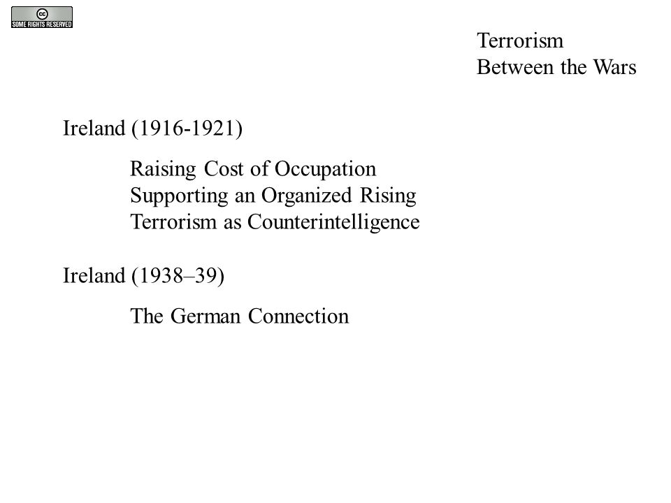 Ireland (1916-1921) Raising Cost of Occupation Supporting an Organized Rising Terrorism as Counterintelligence Ireland (1938–39) The German Connection