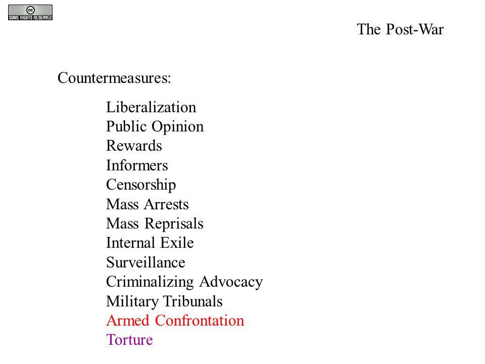 Countermeasures: Liberalization Public Opinion Rewards Informers Censorship Mass Arrests Mass Reprisals Internal Exile Surveillance Criminalizing Advo