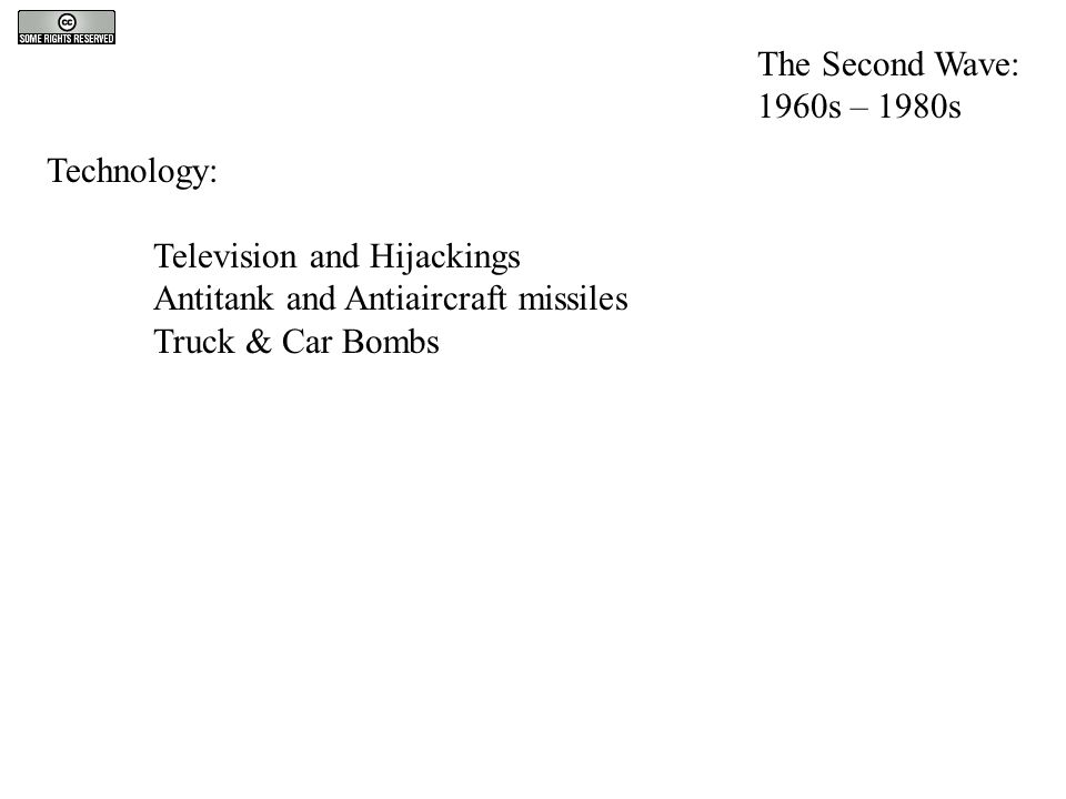 Technology: Television and Hijackings Antitank and Antiaircraft missiles Truck & Car Bombs The Second Wave: 1960s – 1980s