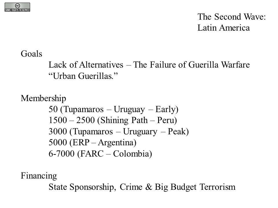 "Goals Lack of Alternatives – The Failure of Guerilla Warfare ""Urban Guerillas."" Membership 50 (Tupamaros – Uruguay – Early) 1500 – 2500 (Shining Path"
