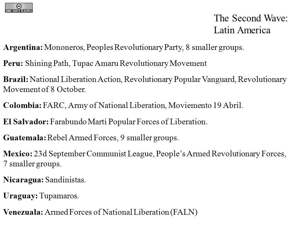 The Second Wave: Latin America Argentina: Mononeros, Peoples Revolutionary Party, 8 smaller groups. Peru: Shining Path, Tupac Amaru Revolutionary Move