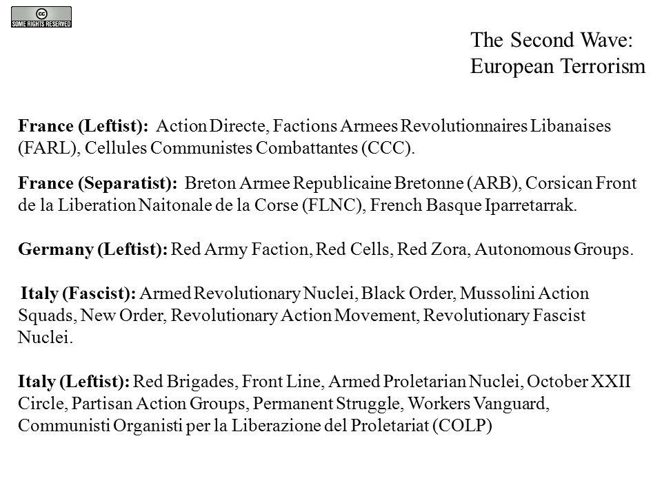 The Second Wave: European Terrorism France (Leftist): Action Directe, Factions Armees Revolutionnaires Libanaises (FARL), Cellules Communistes Combatt