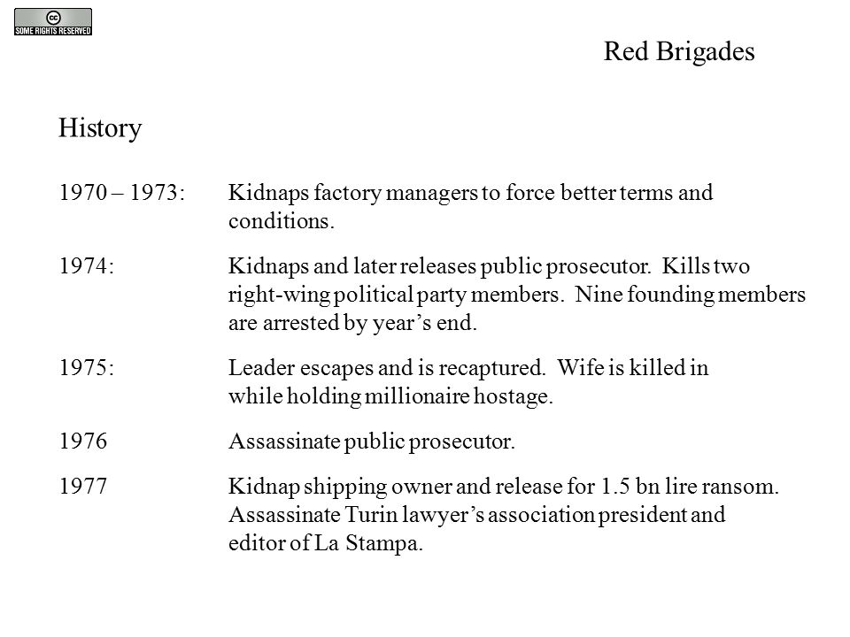 History 1970 – 1973:Kidnaps factory managers to force better terms and conditions. 1974:Kidnaps and later releases public prosecutor. Kills two right-