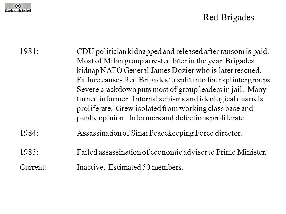 1981:CDU politician kidnapped and released after ransom is paid. Most of Milan group arrested later in the year. Brigades kidnap NATO General James Do