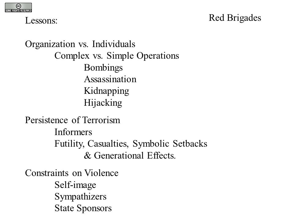 Lessons: Organization vs. Individuals Complex vs. Simple Operations Bombings Assassination Kidnapping Hijacking Persistence of Terrorism Informers Fut