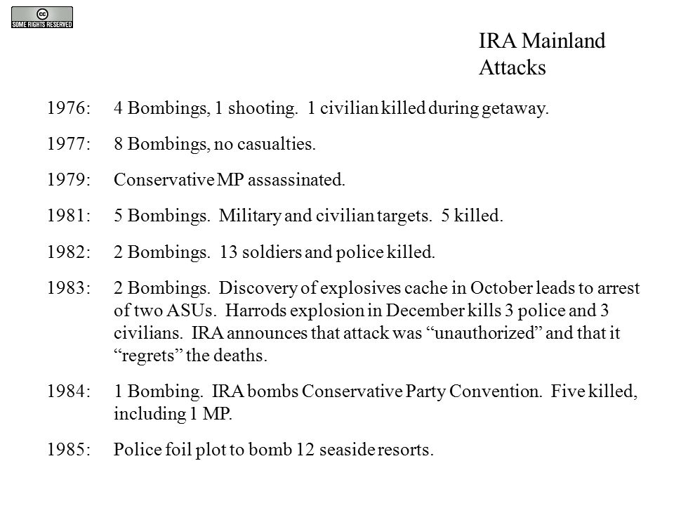 1976:4 Bombings, 1 shooting. 1 civilian killed during getaway. 1977:8 Bombings, no casualties. 1979:Conservative MP assassinated. 1981:5 Bombings. Mil