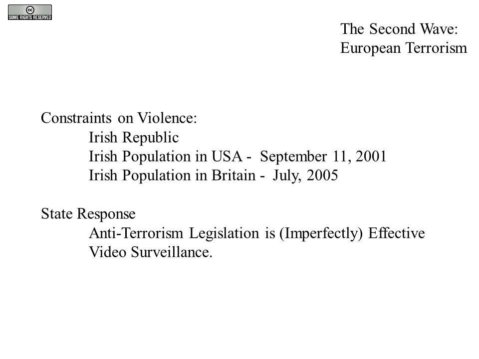 Constraints on Violence: Irish Republic Irish Population in USA - September 11, 2001 Irish Population in Britain - July, 2005 State Response Anti-Terr