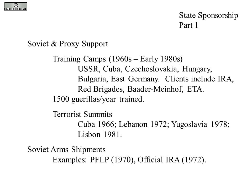 State Sponsorship Part 1 Soviet & Proxy Support Training Camps (1960s – Early 1980s) USSR, Cuba, Czechoslovakia, Hungary, Bulgaria, East Germany. Clie