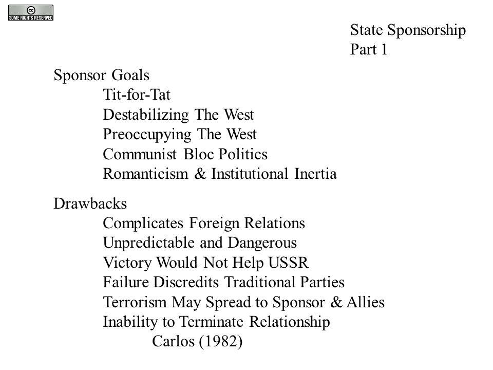 State Sponsorship Part 1 Sponsor Goals Tit-for-Tat Destabilizing The West Preoccupying The West Communist Bloc Politics Romanticism & Institutional In