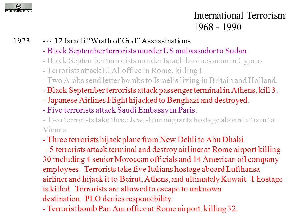 "1973:- ~ 12 Israeli ""Wrath of God"" Assassinations - Black September terrorists murder US ambassador to Sudan. - Black September terrorists murder Isra"