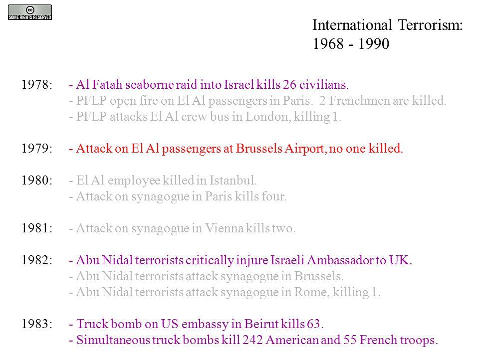 1978:- Al Fatah seaborne raid into Israel kills 26 civilians. - PFLP open fire on El Al passengers in Paris. 2 Frenchmen are killed. - PFLP attacks El