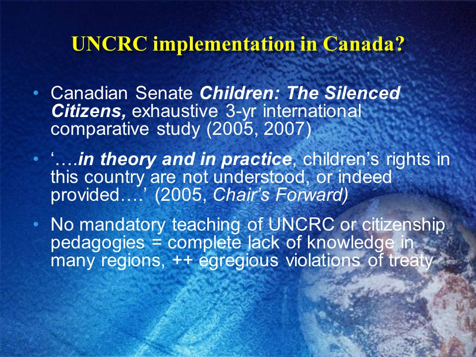 UNCRC implementation in Canada.