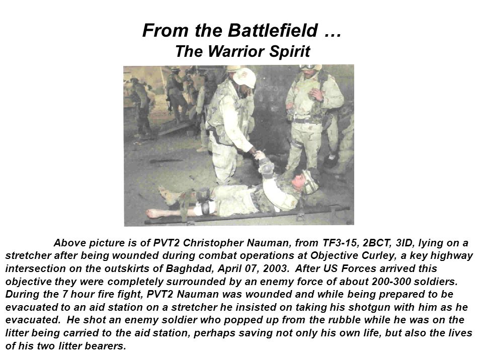 From the Battlefield … The Warrior Spirit Above picture is of PVT2 Christopher Nauman, from TF3-15, 2BCT, 3ID, lying on a stretcher after being wounde