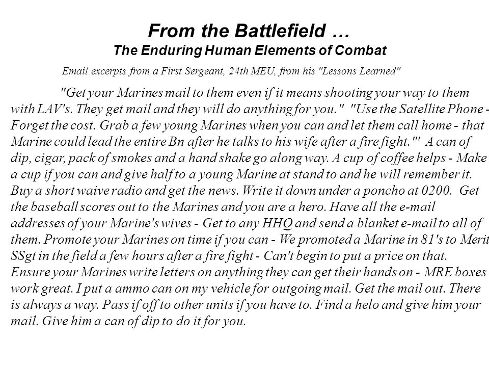 Email excerpts from a First Sergeant, 24th MEU, from his