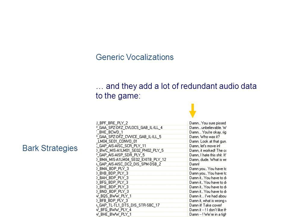 Generic Vocalizations … and they add a lot of redundant audio data to the game: Bark Strategies