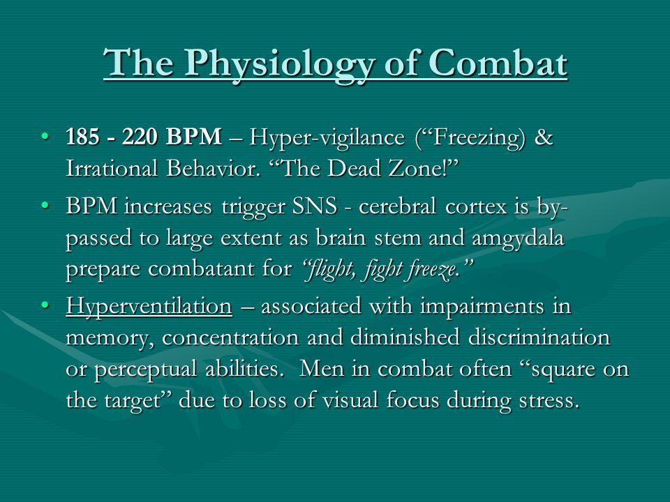 "The Physiology of Combat 185 - 220 BPM – Hyper-vigilance (""Freezing) & Irrational Behavior. ""The Dead Zone!""185 - 220 BPM – Hyper-vigilance (""Freezing"