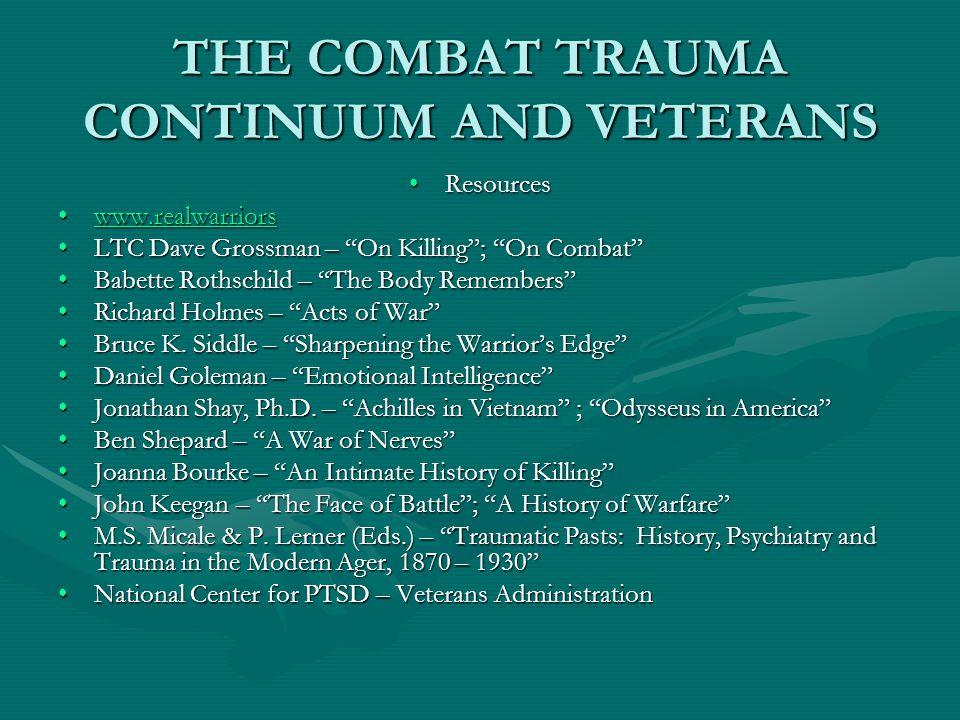 "THE COMBAT TRAUMA CONTINUUM AND VETERANS ResourcesResources www.realwarriorswww.realwarriorswww.realwarriors LTC Dave Grossman – ""On Killing""; ""On Com"