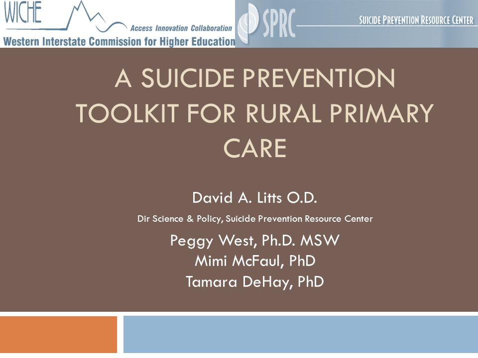 A SUICIDE PREVENTION TOOLKIT FOR RURAL PRIMARY CARE David A.