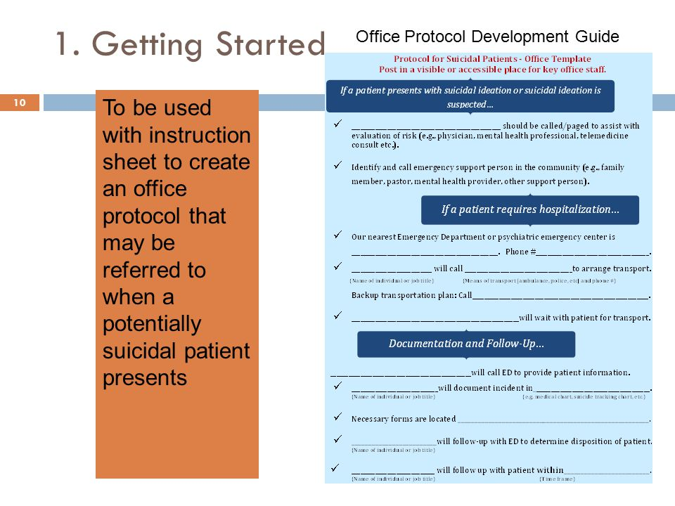 10 To be used with instruction sheet to create an office protocol that may be referred to when a potentially suicidal patient presents Office Protocol Development Guide