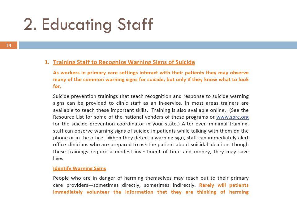 2. Educating Staff 14