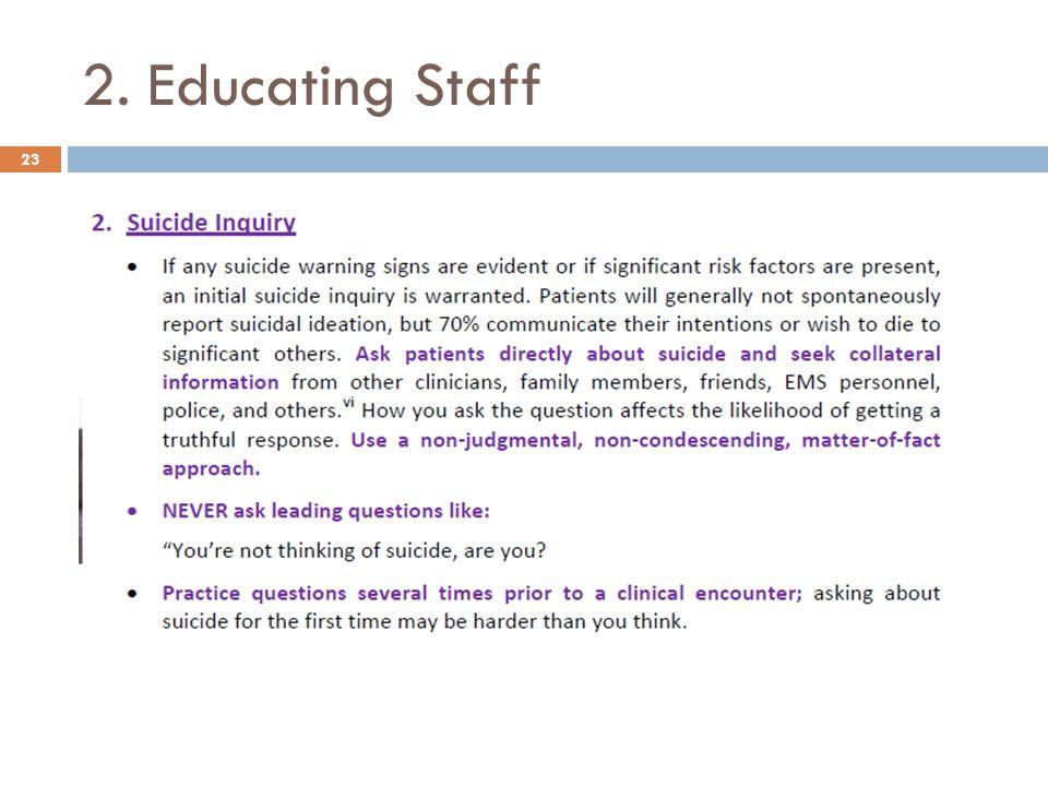 2. Educating Staff 23