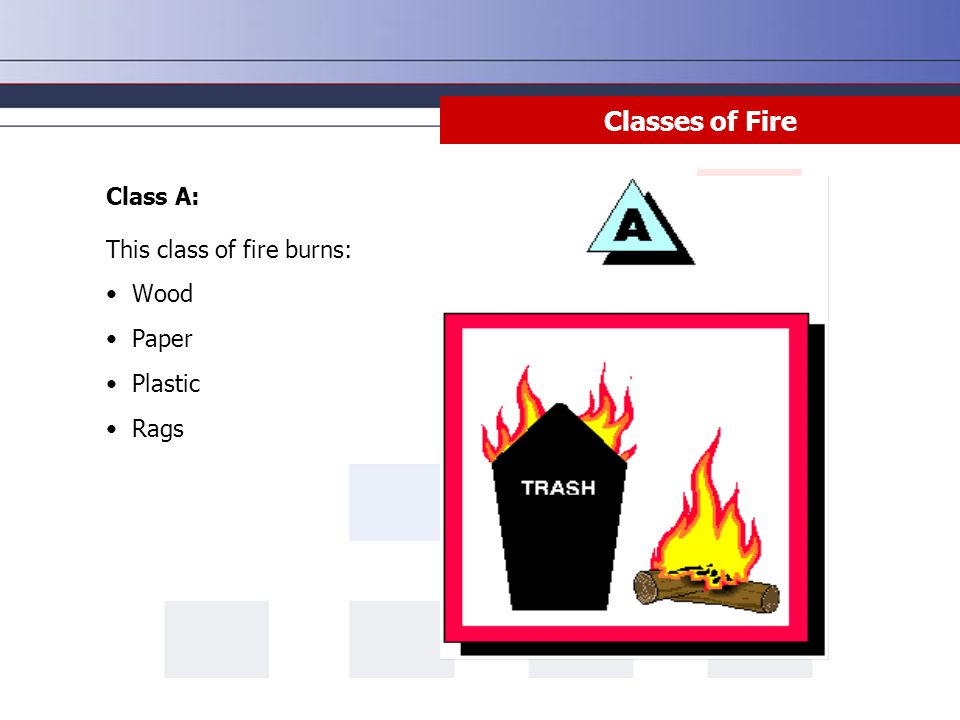 Class A: This class of fire burns: Wood Paper Plastic Rags Classes of Fire