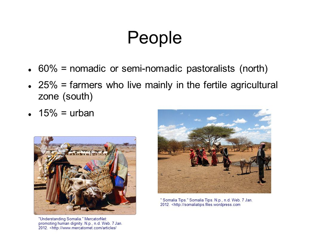 People 60% = nomadic or semi-nomadic pastoralists (north) 25% = farmers who live mainly in the fertile agricultural zone (south) 15% = urban