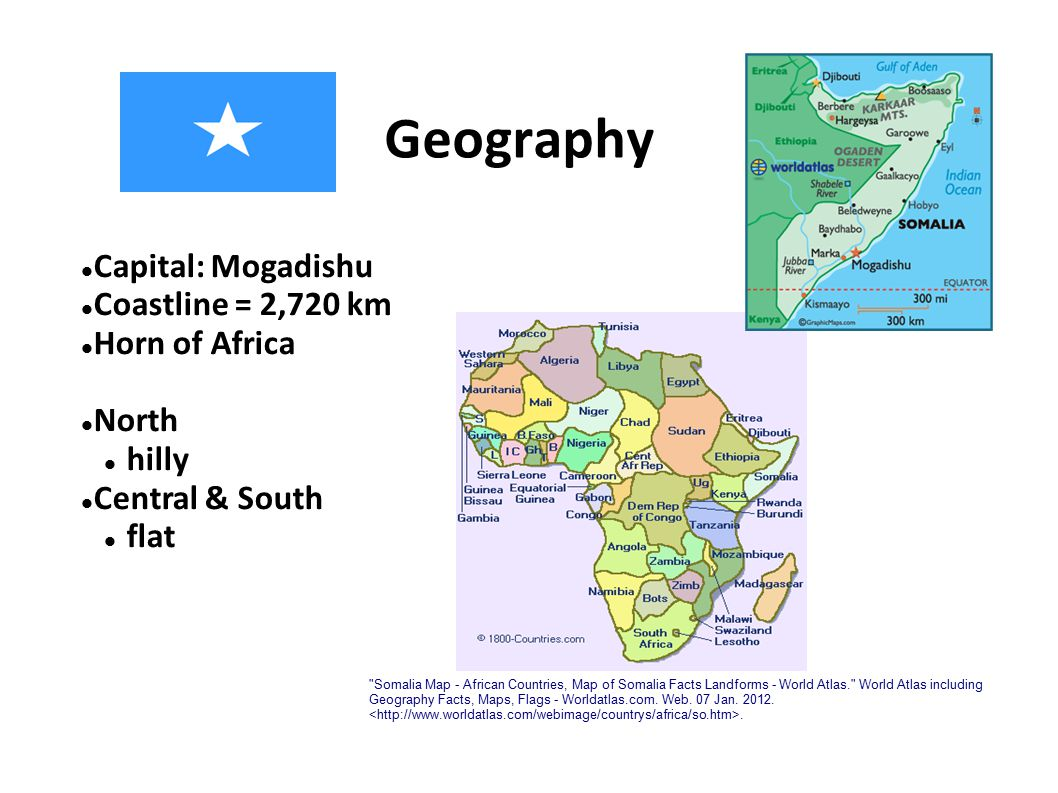 Geography Capital: Mogadishu Coastline = 2,720 km Horn of Africa North hilly Central & South flat