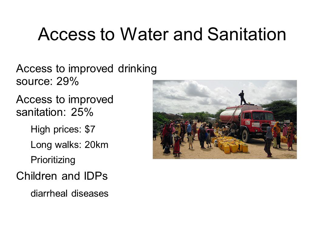 Access to Water and Sanitation Access to improved drinking source: 29% Access to improved sanitation: 25% High prices: $7 Long walks: 20km Prioritizin