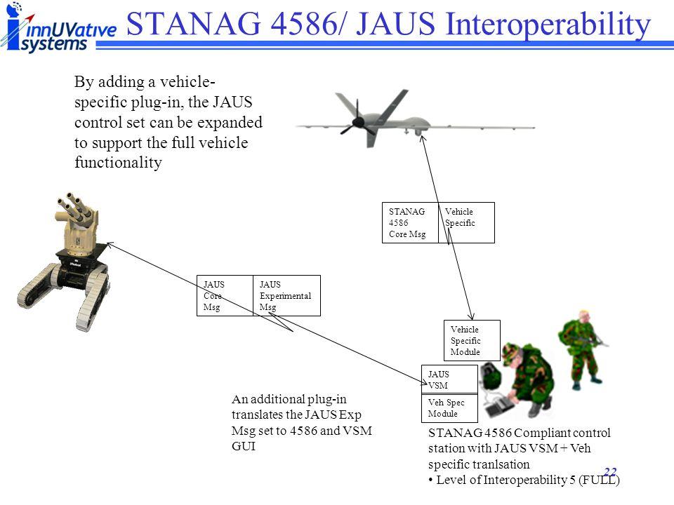 21 STANAG 4586/ JAUS Interoperability STANAG 4586 Compliant control station with JAUS VSM Level of Interoperability 3/4 (~80% of mission??) STANAG 458