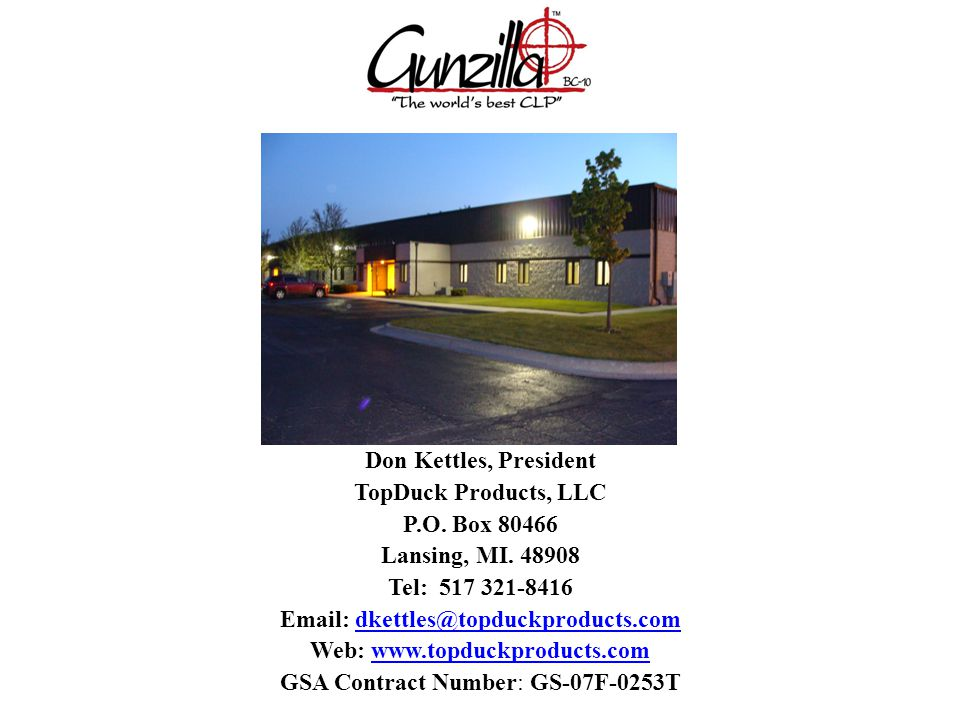 Don Kettles, President TopDuck Products, LLC P.O. Box 80466 Lansing, MI.