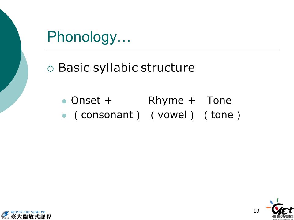 13 Phonology…  Basic syllabic structure Onset + Rhyme + Tone ( consonant ) ( vowel ) ( tone )