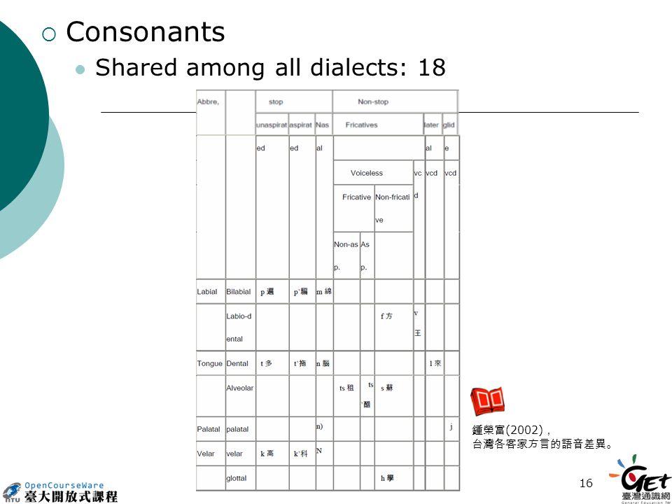 16  Consonants Shared among all dialects: 18 鍾榮富 (2002) , 台灣各客家方言的語音差異。