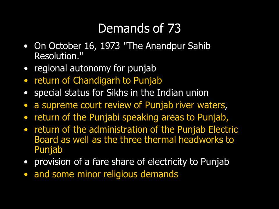 Demands of 73 On October 16, 1973