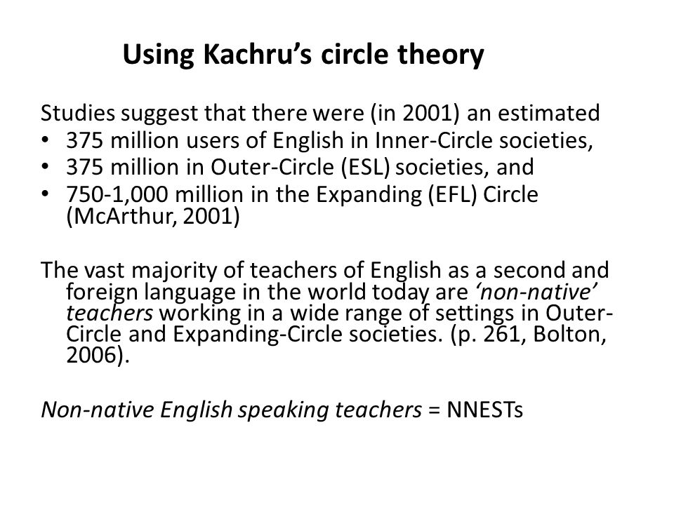 A historical overview mentioning Kachru's circles The spread of Englishes – from the United Kingdom to countries where native English speakers have settled down in large numbers (Kachru's Inner Circle countries, 1992): Australia, Canada, New Zealand, South Africa, and the United States as a first language for many – as a second language (Kachru's Outer Circle, 1992): Examples - Hong Kong, India, Singapore – or a foreign language (Kachru's Expanding Circle, 1992): Examples - Germany, Hungary, Poland, China, and Japan Reasons for the spread (Kandiah, 1998): – colonization; 'global village'