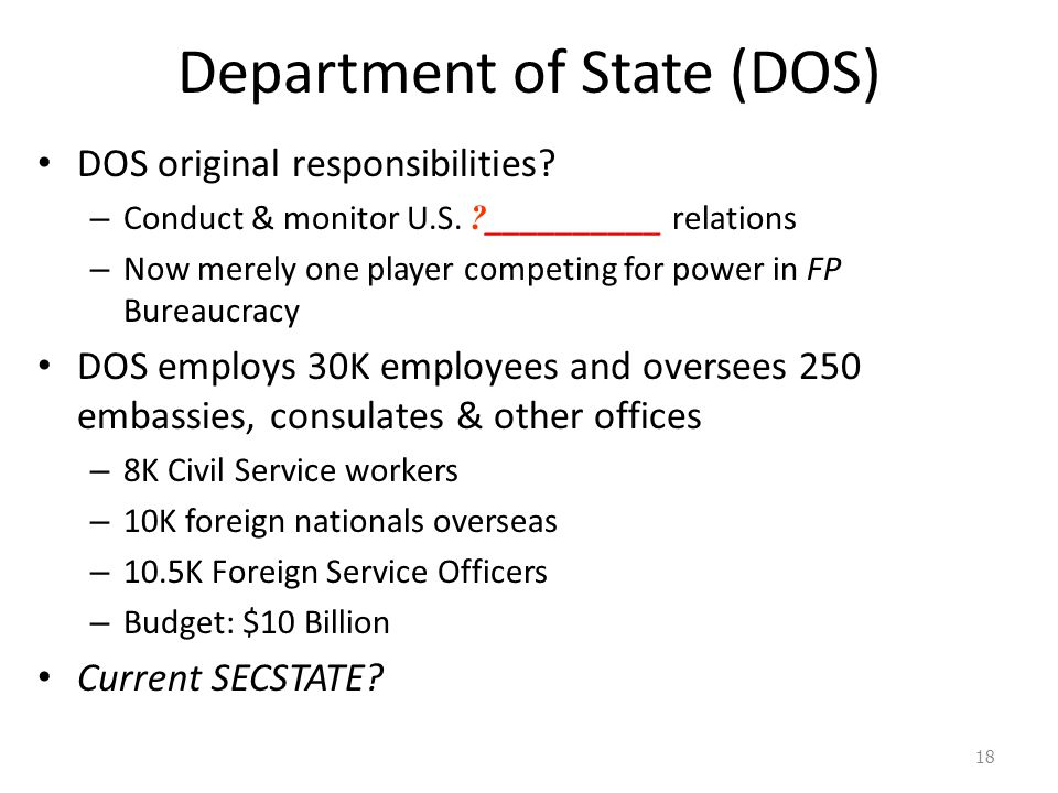 Department of State (DOS) DOS original responsibilities? – Conduct & monitor U.S. ? __________ relations – Now merely one player competing for power i