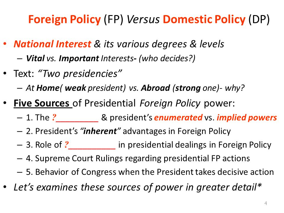 Foreign Policy (FP) Versus Domestic Policy (DP) National Interest & its various degrees & levels – Vital vs.