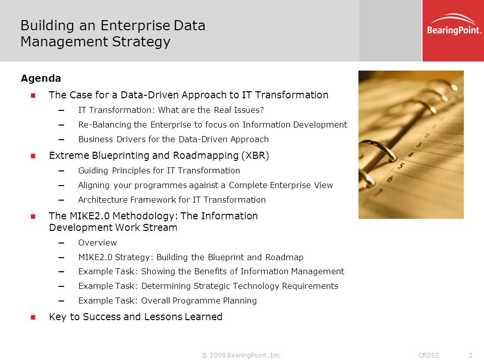 © 2008 BearingPoint, Inc.3CROSS IT Transformation through Information Development Scope within BearingPoint s IM Solution Suite Data Driven IT Transformation is a Composite Solution Offering that brings together offerings across the suite.