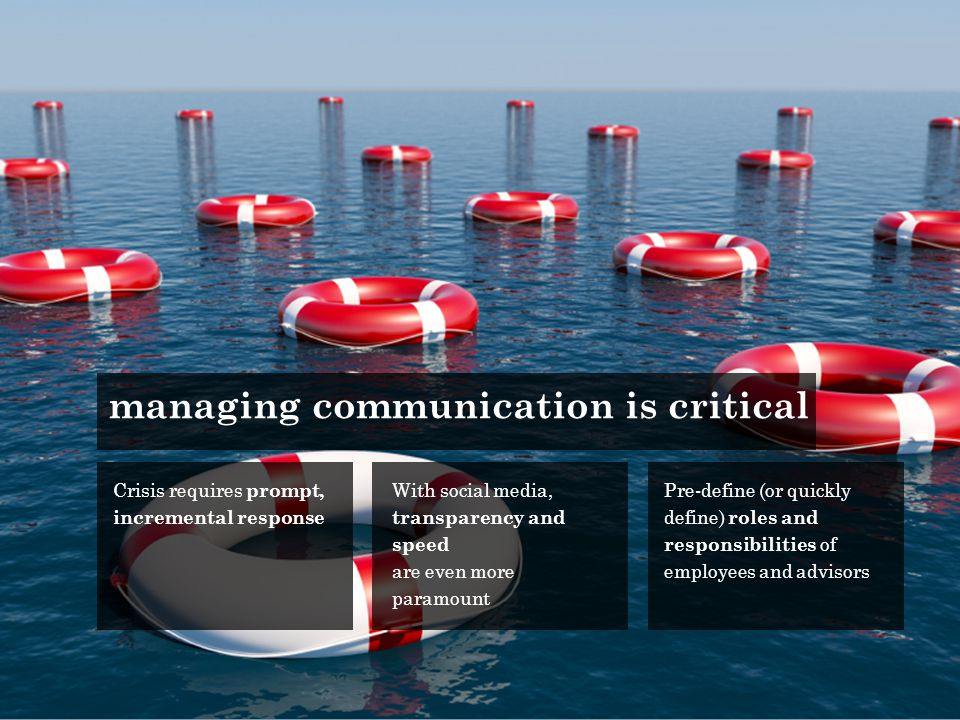 Crisis requires prompt, incremental response With social media, transparency and speed are even more paramount Pre-define (or quickly define) roles and responsibilities of employees and advisors managing communication is critical