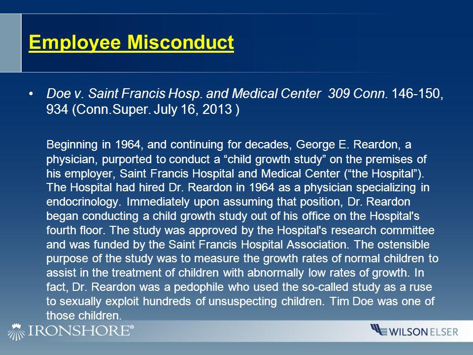 Employee Misconduct Doe v. Saint Francis Hosp. and Medical Center 309 Conn.