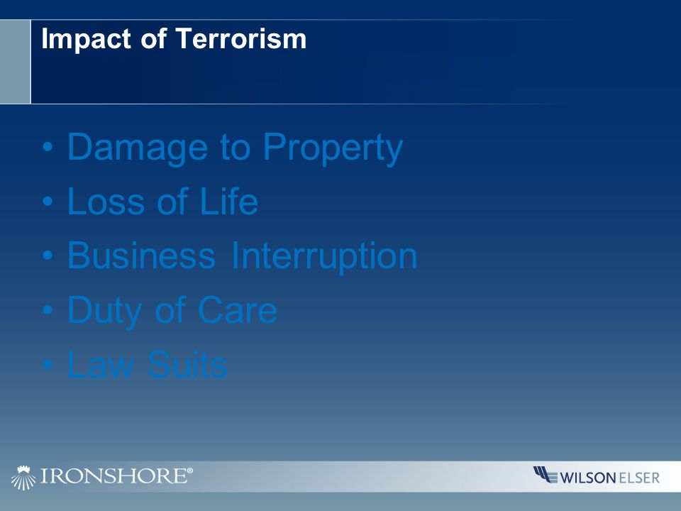 Impact of Terrorism Damage to Property Loss of Life Business Interruption Duty of Care Law Suits