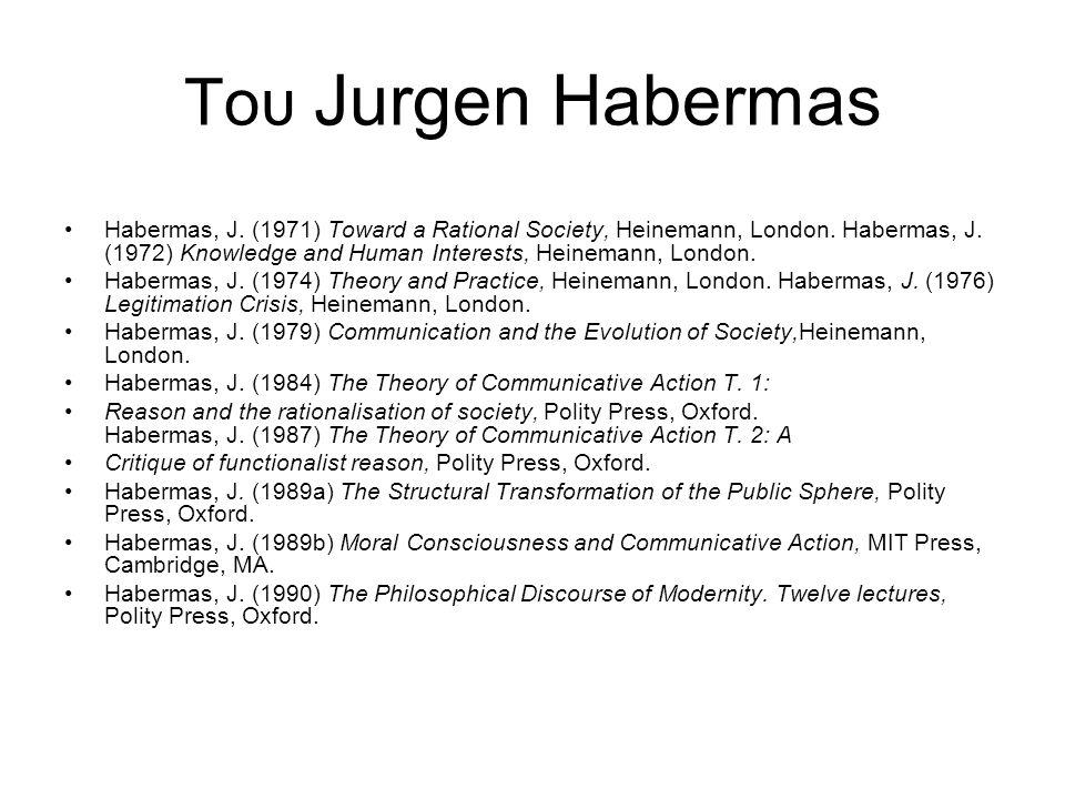 Του Jurgen Habermas Habermas, J. (1971) Toward a Rational Society, Heinemann, London. Habermas, J. (1972) Knowledge and Human Interests, Heinemann, Lo