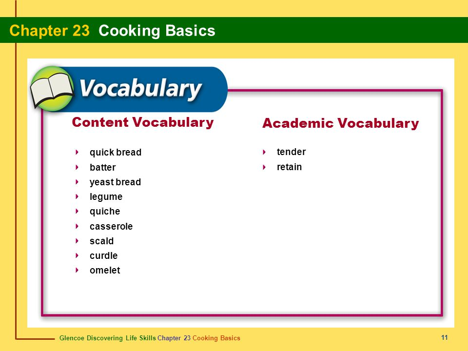 Glencoe Discovering Life Skills Chapter 23 Cooking Basics Chapter 23 Cooking Basics 11 Content Vocabulary quick bread batter yeast bread legume quiche casserole scald curdle omelet Academic Vocabulary tender retain