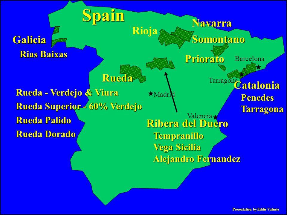Presentation by Eddie Valente NavarraSomontano Galicia Rias Baixas Rias Baixas Spain Madrid Valencia Tarragona Barcelona Rioja Rueda Rueda - Verdejo &